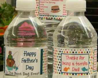 Father's Day Water Bottle Labels - Personalized Father's Day Water Bottle Labels - Father's Day Party Favors - Father's Day Decor