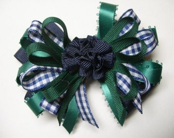 4 inch Navy Blue Gingham Check Spruce Hunter Green Hair Bow Toddler Girl Uniform Layered