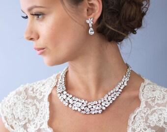 Cubic Zirconia Wedding Necklace, CZ Bridal Jewelry, Bridal Accessories, Necklace For Bride,CZ Necklace,Bridal Jewelry,Bride Jewelry ~JN-1580