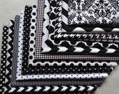 Halloween Fabric Bundle /Black and White Fat Quarters/Cotton Sewing Material/Quilting, Crafts/Polka Dot/Houndstooth/Damask/Chevron/Wave