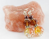 Topaz beaded earrings,crystal crackle earrings summer affordable boho jewelry