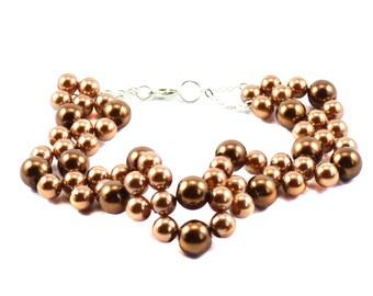 Brown gold beadwork beaded women bracelet