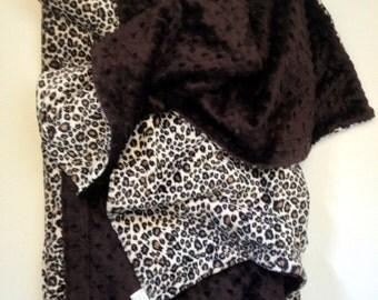 Minky Adult Blanket, Cheetah Print Blanket,Brown Minky Blanket,  Animal Print Blanket, Couch Throw, Adult Minky Blanket, Size 50 x 60