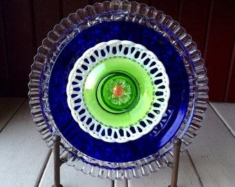 """Repurposed Glass Flower, Sun Catcher Glass Garden Art - """"Oceans"""" Cobalt Blue Lime Green Glass Flower, Made from Glass Plates"""