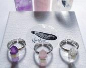 Crystal ring, sterling silver ring 925 Polarity Ring, purple amethyst, rose quartz, quartz, double terminated, adjustable