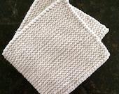 Hand Knit Pot Holders - Set of 2 - Light Gray