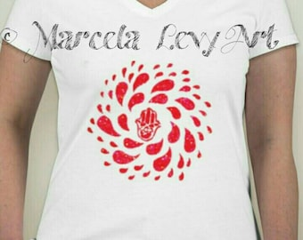 Hamsa red design handpainted t-shirt. Gift for him gift for her. Unique
