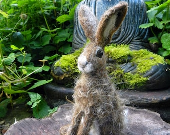 Needle Felted Brown Hare Sculpture - MADE TO ORDER