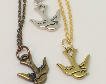 Soaring BIRD necklace, Swallow Bird Jewelry, Soaring Swallow, Bird Necklace Bird Jewelry, Gold Swallow, Silver Swallow, Antique Gold Sparrow