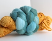 Thrummed SLIPPER SOCK kit - Yellow/Teal - Hand dyed Merino yarn and roving Pattern included