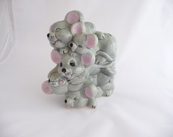 Vintage Piggy Bank Mouse Five Stacked Mice