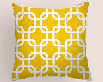 Yellow  Pillow Cover. All sizes  Decorative Throw Pillows .Nursery . Decorative Pillow Fabric front and back Kids