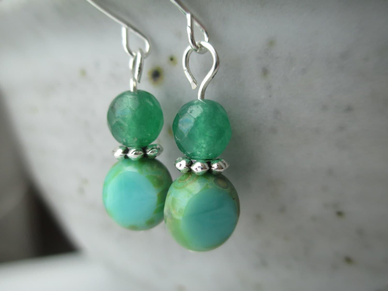 emerald earrings glass earrings green earrings dangle