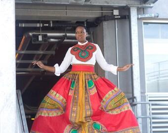 Dashiki Print Maxi Skirt with Pockets...Choose a Color