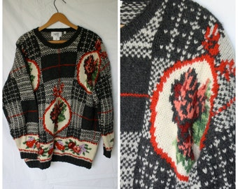 Vintage Floral Wool Sweater / 1980s Italian Sweater / Nordic Flower Sweater / Womens Vintage Sweater / Scandinavia Winter Sweater L/XL