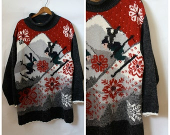 Vintage Novelty Sweater / Womens Ski Sweater / Swingin Skiers Sweater / Wool Snowflake Sweater / Winter Wonderland Sweater XL One Size