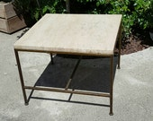 In style of Paul McCobb or Milo Baughman brass tone base travertine side table - cube