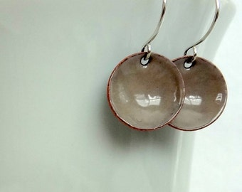 Light Grey Enameled Earrings - Enamel Jewelry