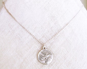 Bird coin Necklace, Hope quote necklaces for women, unique flying bird with a dainty flower coin silver pendant, girlfriend birthday gifts