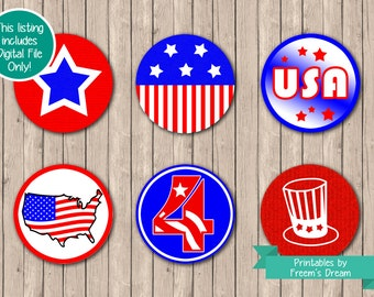 Printable Fourth of July Cupcake Toppers - July 4th Decor - 4th of July Picnic - Fourth of July Party Ideas - Independence Day Decorations
