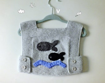 Knit Baby Vest/ Hand Knit Baby Sweater/Grey And Pink/Children Vest/Boys and Girls