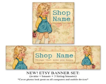 NEW Etsy banner Etsy cover Vintage kids banner cover 1200x300 profile picture 500x500
