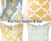 PILLOWS Gray Decorative Throw Pillows Yellow Gold Grey Pillow Covers 16x16 18 20 .ALL SIZES. Lumbar Euro Sham Home and Living Home Decor