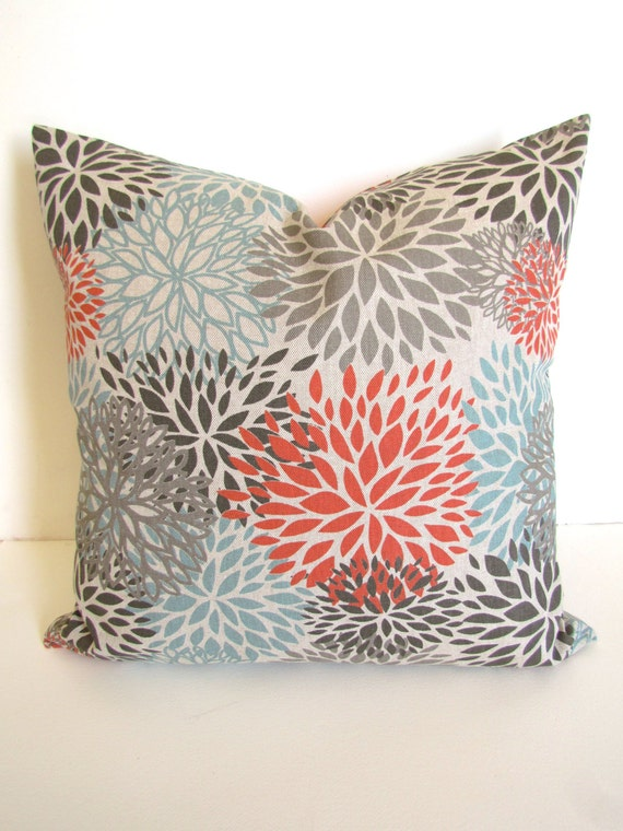 Blue Coral Throw Pillow : CORAL PILLOWS BLUE Decorative Pillow Covers Spa Blue Throw