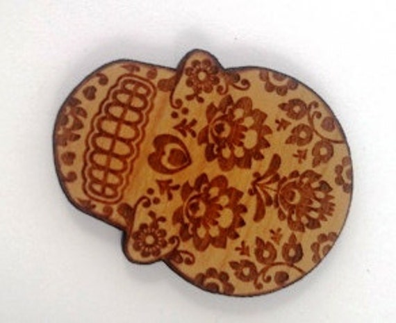 Laser Cut Supplies- 1 Piece.Folk Art Skull Charms - Cherry Wood-Laser Cut- Little Laser Lab Sustainable Wood Products