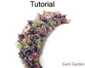 Beading Tutorial Bracelet Pattern - Gemstone Chip Fringe Cluster Bracelet - Fringe Square Stitch - Simple Bead Patterns - Gem Garden #19559