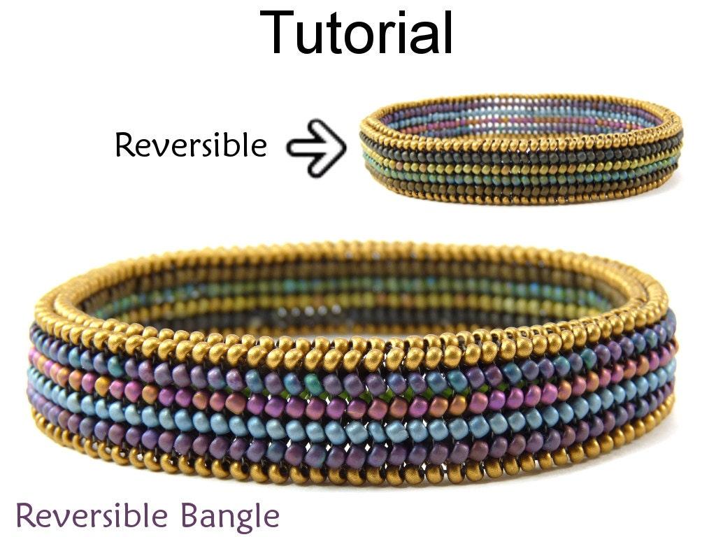beading tutorial pattern bangle bracelet flat tubular