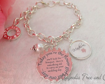 Flower girl bracelet, bridesmaid, bridal pendant, bouquet charm, flowergirl gift, personalized, custom, Today you hold the bouquet... KE02