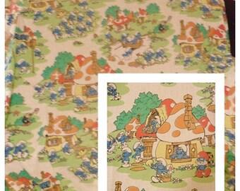 Vintage retro smurfs cartoon white multi colored all over print kids twin flat sheet