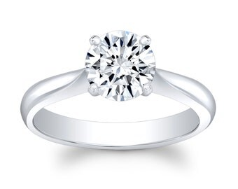 Ladies 18k white gold tapered engagement ring solitaire with 1.50 ct natural Round Brilliant White Sapphire center