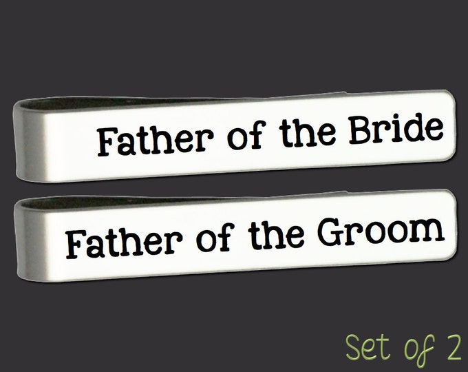 Father of the Bride Gift | Father of the Groom Gift | Wedding Gift | Custom Personalized Tie Bar Set Korena Loves