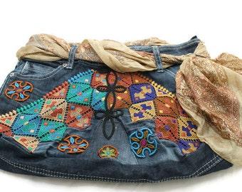 Shoulder jeans bag with adjustable strap