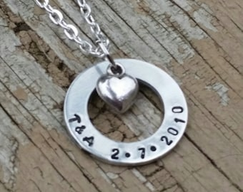 anniversary washer necklace handstamped custom initials and date anniversary gift for her girlfriend gift christmas heart charm personalized