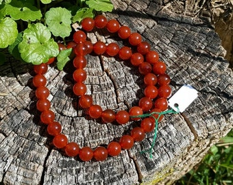 "1- 16"" Strand of Beautiful Genuine Orange, Rust, Paprika Carnelian Smooth 8mm Round Beads (apprx 48 beads)"