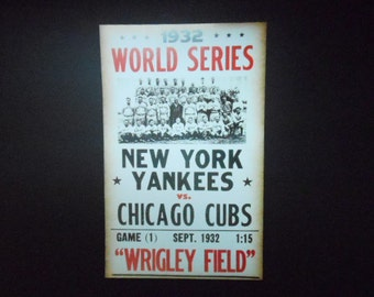"""New York Yankees vs. Chicago Cubs 1932 Print Poster Reproduction Baseball Fan Wall Art Nice Color  22"""" x 14"""" World Series Sports Decor"""
