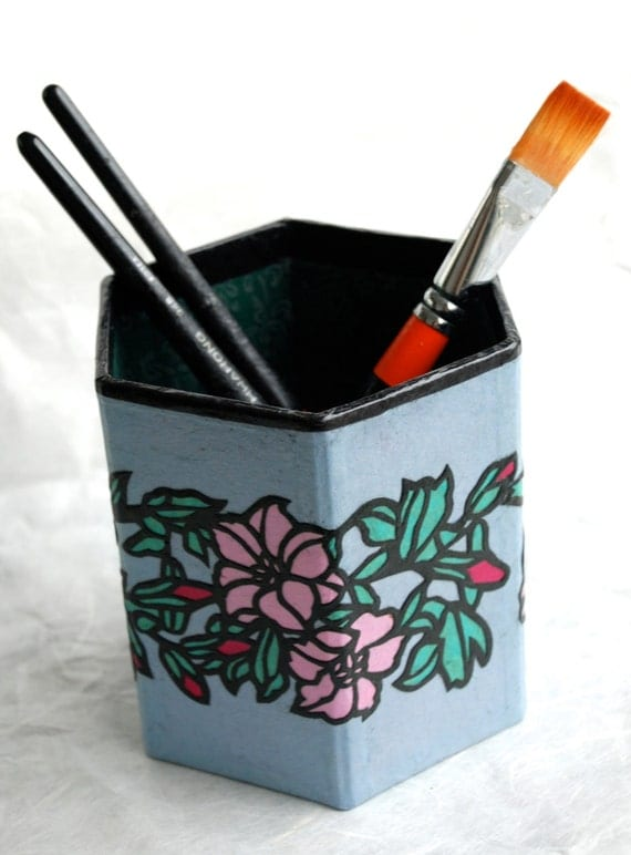 Blue Pink Flower Hanji Pen Holder Pencil Case Desktop Handmade Flower Green Red Floral Design Desk Organizer Pencil Container Pencil Tub
