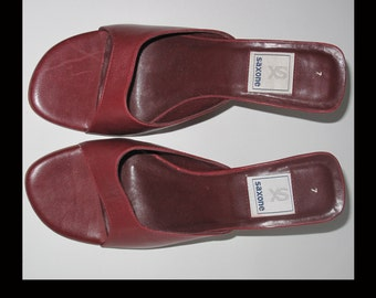 Saxone burgundy slip on wedge mules, size 6/7 UK