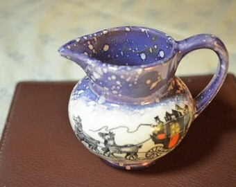 Vintage Little Purple Pitcher with Coaching Scene Made by Old Castle in England