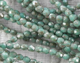 4mm Turquoise Silver Picasso Round - 50 Beads - 2418 - Turquoise Picasso 4mm Faceted Round Beads - Firepolished 4mm Turquoise Beads