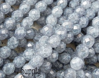 8mm Luster Stone Grey Round Beads - 1742 - Luster Stone Gray 8mm Faceted Round Beads