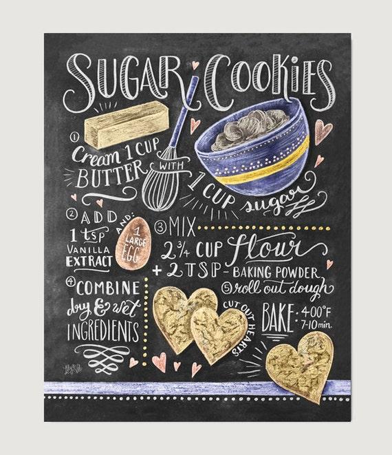 Sugar Cookies Recipe Print Baking Wall Art Cookie Recipe
