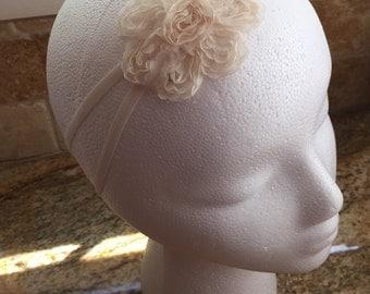 Ivory Color Shabby Chiffon Fabric Flower Headband, Baby Girl Headband, Baby Girl Wedding Headband, Infant Girl Headband, Women Headband