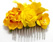 Bright Yellow Mixed Rose Floral Clip Hair Comb Striking Flower Accessory