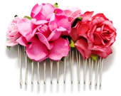 Pink Rose Mixed Floral Bright Fushia Vintage Style Flower Bridal Comb