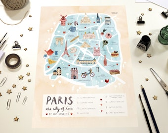 Paris Illustrated Map - France Art Print - City Map Poster