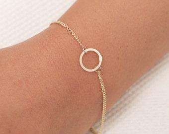 Dainty Circle Bracelet, Gold Karma Bracelet, Everyday Bracelet, Gold Filled Bracelet, Sterling Silver Bracelet, Simple Layering Bracelet .